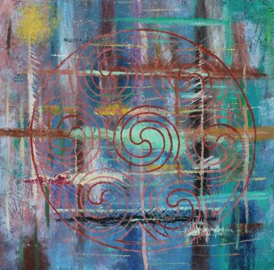 Celtic Circle on a Range of Abstract Paint