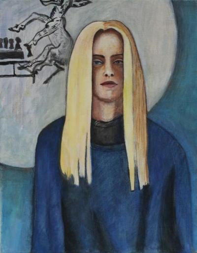 Self Portrait Mom's Sweatshirt Gouache and Oil on Canvas 12 x 16 $229.99