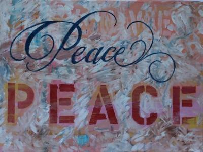 "Peace PEACE Oil on Canvas 12 x 16"" $199.99"