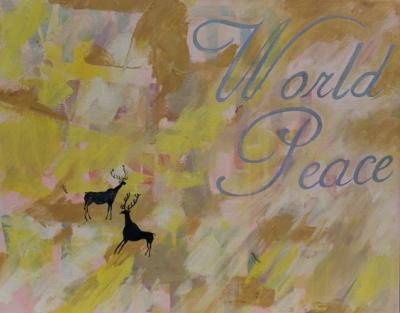 "World Peace Freed 4th Millenium Acrylic and Oil on Canvas 16 x 20"" $217.00"