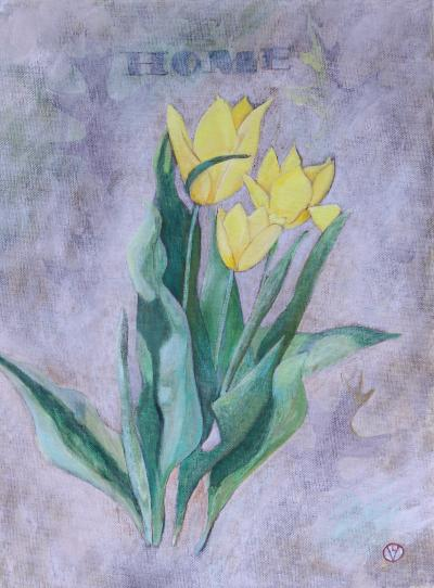 """Tulips Front Yard Home Gouache and Oil on Canvas 12 x 16"""" $229.99"""