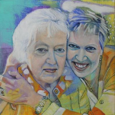 Portrait of Lynn and Harriet Notten painted by Toronto Ontario freelance artist Cynthia van Leeuwen