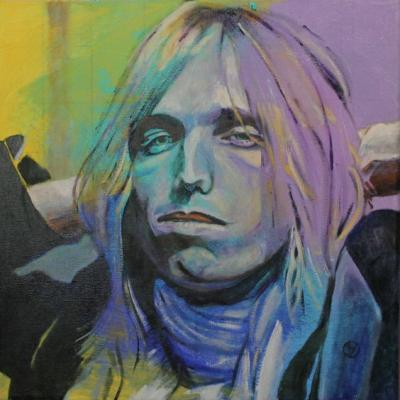 Portrait of Tom Petty painted by Toronto Ontario freelance artist Cynthia van Leeuwen