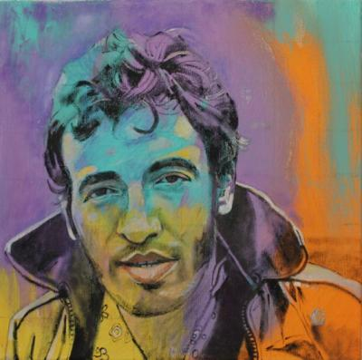 Portrait of Bruce Springsteen painted by Toronto Ontario freelance artist Cynthia van Leeuwen