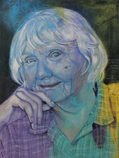 Portrait of June, Kat's mother  painted by Toronto Ontario freelance artist Cynthia van Leeuwen
