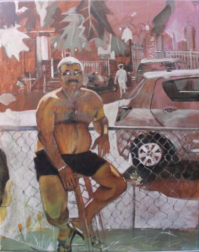 Portrait of Tony From Across the Street painted by Toronto Ontario freelance artist Cynthia van Leeuwen