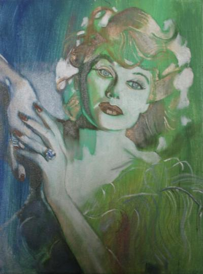 Portrait of Lucille Ball painted by Toronto Ontario freelance artist Cynthia van Leeuwen