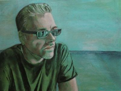 Portrait of Frank Di Genova Dreaming at the Ocean  painted by Toronto Ontario freelance artist Cynthia van Leeuwen