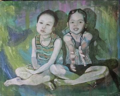Portrait of Two Sisters painted by Toronto Ontario freelance artist Cynthia van Leeuwen