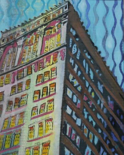5th Av and 18th St SW side Acrylic & Oil on Gessoed Cardboard Silver Frame 13x16 $199.99 SOLD by toronto freelance artist Cynthia van Leeuwen