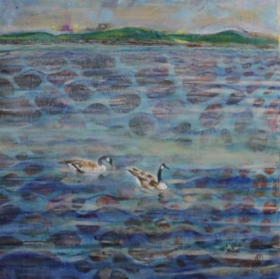 Geese Forever Oil on Canvas 16x16 $329.99 by toronto freelance artist Cynthia van Leeuwen