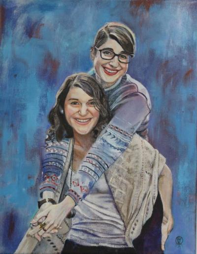 Lydia and Julianna Oil on Canvas 11x14 commisioned by toronto freelance artist Cynthia van Leeuwen