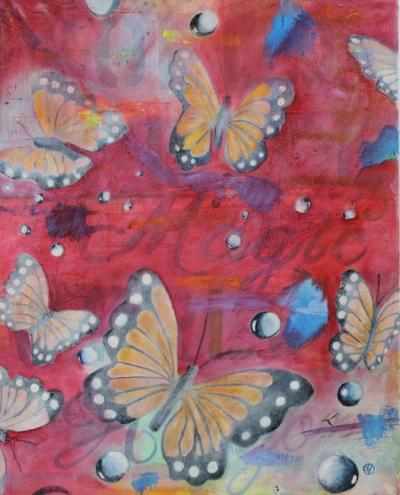 Monarch, Heart, Magic, World Peace Acrylic and Oil on Canvas 16 x 20 $399.99 by toronto freelance artist Cynthia van Leeuwen