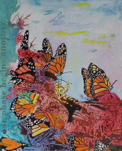 Monarchs & Transformation Oil on Canvas 16x20 $399.99 by toronto freelance artist Cynthia van Leeuwen