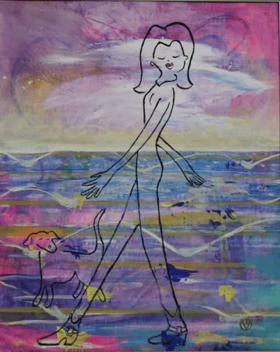 Walking Down the Street Acrylic & Oil on Gessoed Cardboard Silver Frame 13x16 $199.99 by toronto freelance artist Cynthia van Leeuwen
