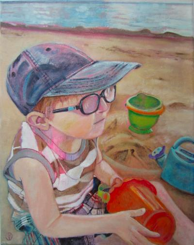 Boy at the beach by toronto freelance artist for a mothers day present