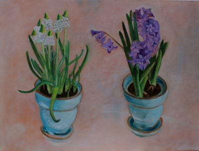 Spring Flowers in Turquoise Pots