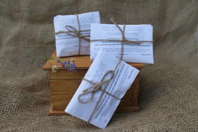 try these made by hand cotton tea bags filled with luxury for your bath.