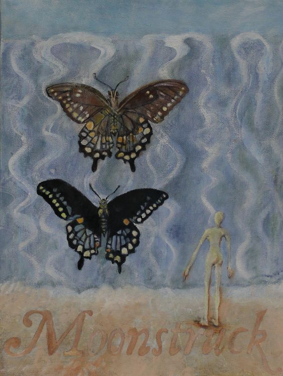 "Moonstruck Wall of Water Butterflies Gouache and Oil on Canvas 12 x 16"" $229.99"