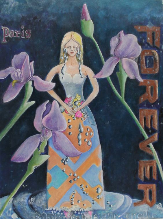"The Princess I Drew as a Crying Child, Irises from Back Yard Broken Pieces Paris Forever Batman Etc 18 x 24"" $729.99"
